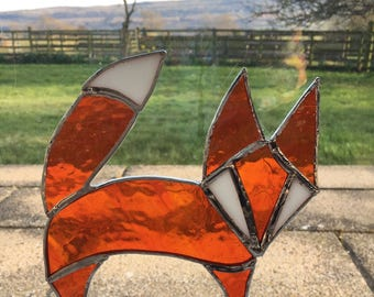 Unique Stained glass foxy fox suncatcher