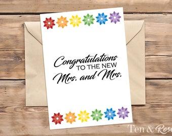Lesbian Wedding Card - Printable Card - Gay Wedding - Mrs and Mrs - Congratulations