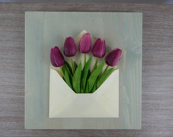 """FLOWERS in wood """""""" 3D-Wooden framework """"The mail of Flowers"""""""