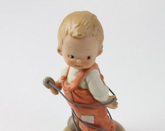 """Retired Enesco Memories of Yesterday """"Making the Right Connection"""" Mabel Lucille Atwell Collection 1994."""