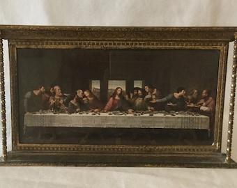 Vintage Brass Portico Style Framed Leonardo DaVinci's Last Supper Print