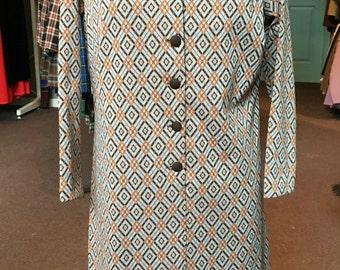 Vintage 1970s Brown Orange and White Argyle Print Polyester Midi Dress