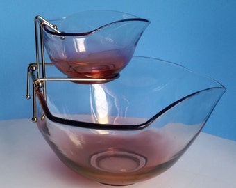 Vintage  Indiana Glass Ruby Chip & Dip Tiered Bowl Set,Dinner Ware,Table Ware,Party Ware,Bar Ware,Glass Ware