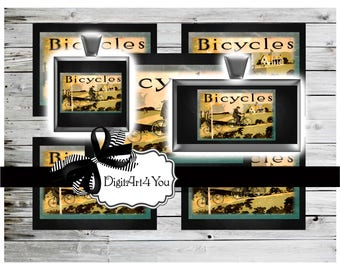 High Resolution Vintage Digital Download of Bicycle in Countryside.Cyclists on Bike Through Trees.Printable Collage for Inchies and Dominoes