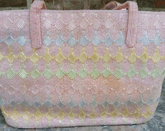 Vintage Fully Beaded Pastel Handbag * Evening Bag Exceptional Condition