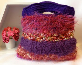 Shades of Pink and Purple knitted Handbag