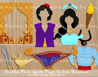 Aladdin and Jasmin Photo Booth Props Instant Download, Digital File, Printables