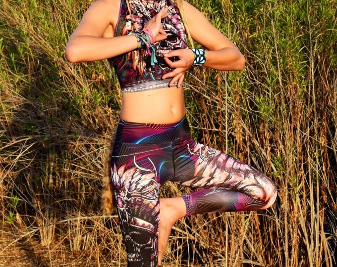 Skull Headdress Leggings  Huichol Yoga Pants