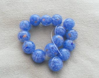Blue Round Handmade Gold Sand Lampwork Beads 14 mm about 15pcs/strand (1398B)