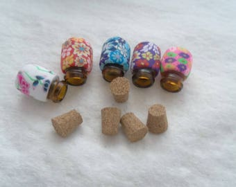 Pack of 5 - 19 mm x 13 mm Polymer Clay Covered Brown Glass Bottle Pendants (1277)