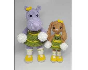 amigurumi crochet pattern Cheerleaders hippo and bunny