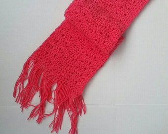 Hot pink scarf, handmade crochet scarf, winter scarf, fall scarf, women's scarf, holiday gift, gifts for her, ready to ship