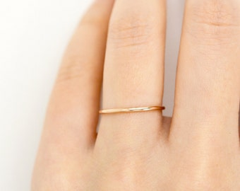 1MM Thin Ring, 14k Solid Gold Ring, Skinny Gold Ring, Ultra Thin Gold Wedding Band, Delicate Gold Ring, Thin Stacking Ring, Minimalist Ring