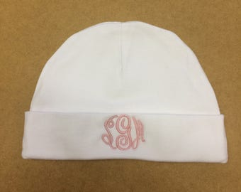 Monogramed Newborn Baby Beanie Hat, Personalized Infant Baby Shower Gift