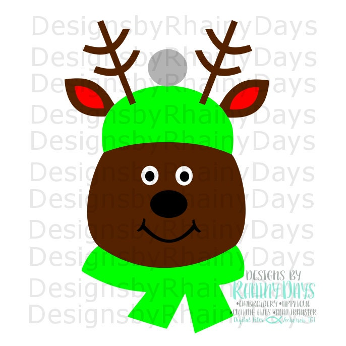 Reindeer boy cutting file, Christmas reindeer, cute deer with scarf, SVG, DXF, png, design