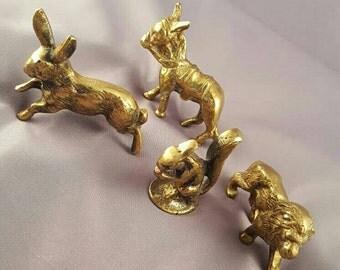 Set of 4 solid brass figurines - vintage brass figures - wildlife - hare lion squirrel donkey
