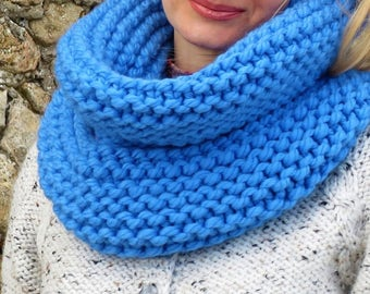 Blue scarf merino scarf womens scarf merino wool scarf handknit scarf chunky scarf wool infinity scarf birthday gift for mom from daughter
