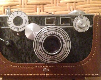 50mm argus coated cintar camera with leather case