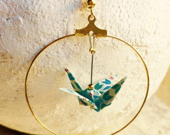 "Earrings hoop earrings gold, blue and white ""vintage"" origami birds"