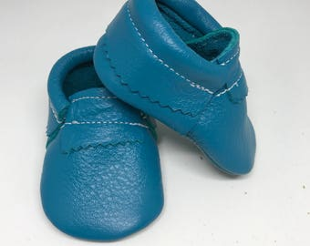 Baby Moccasins Turquoise Genuine Leather