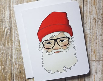 Funny Christmas Card, Hipster Card, Hipster Christmas, Hipster Santa, Blank Card, Humor, humorus, humourus, glasses