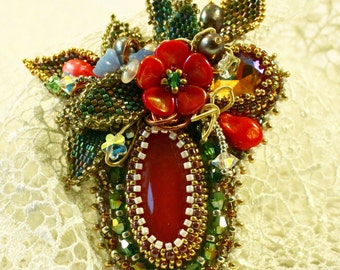 """Bouquet"" with freshwater pearls and red agate bead brooch"