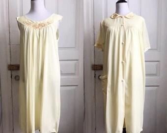 1960s / 60s Vintage Buttercup Nightgown Set / Pajamas L XL