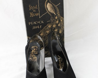 1940s Black Peep Toe Small Platform High Heel