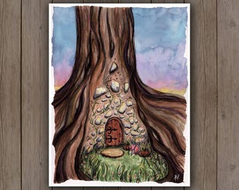 Watercolour Art Print - Fairy Garden House in Tree / Enchanted Door / Fantasy Doorway Handpainted Watercolor Painting / Gift Ideas