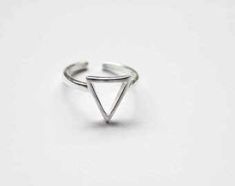 Triangle Ring - Sterling Silver Ring - Simple - Minimalist Jewellery - Gift for Her - Adjustable Ring - Geometric Style - Wedding -