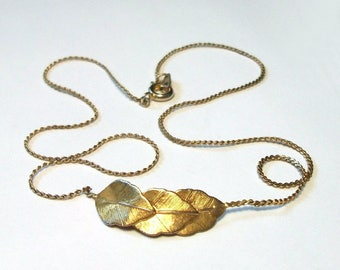 SALE Gold Leaf Necklace Vintage Delicate Serpentine Chain Leaves Textured Dainty Pendant