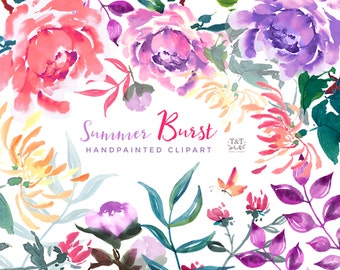 Flower Clipart Elements and Finished Bouquets - Summer Burst.