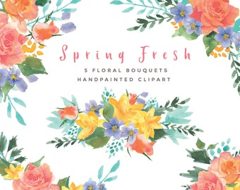 Watercolor Flower clipart, 5 floral bouquets - Spring Fresh.