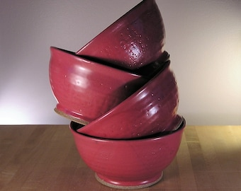 Bowls (set of 4) - Raspberry red hand thrown bowls