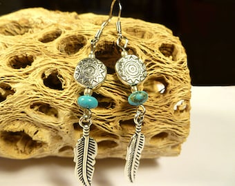 Genuine Turquoise Feathered Earrings Southwestern Native American