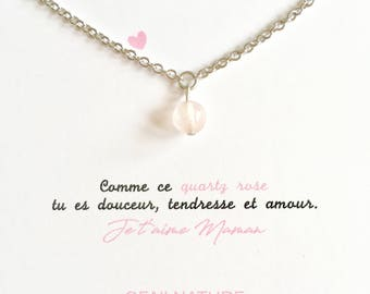 Necklace MOM I love you in stainless steel and rose quartz
