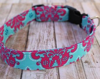 Damask Dog Collar - Damask Dog Leash - Floral Dog Collar - Girly Dog Collar -  Damask Dog Harness - Baroque Dog Collar - Pink & Aqua Collar