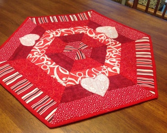 Quilted Candle Mat with Applique Hearts