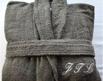 Personalised Grey Terry Towelling Bathrobes