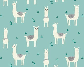 "Llama on teal Snuggle flannel, By the Half Yard, 42"" wide, flannel fabric - llama fabric - animal fabric - teal fabric - nursery fabric"