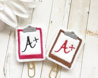 Teacher Appreciation Planner Clip - Party Favor - Bookmark - Planner Accessories - Small Gift - Thank you Teacher - A+ Teacher Professor