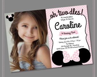 Minnie Mouse 2nd Birthday Invitations, Printable Girls Party Invitation, Black White Polka Dots and Pink, Second Birthday, Oh Two-dles