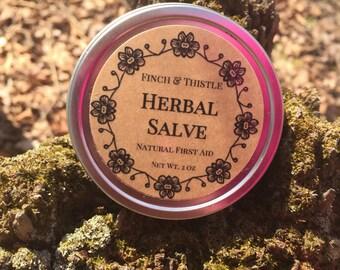 Herbal Salve, Calendula, Comfrey, Plantain, St Johns Wart, Yarrow, Vitamin E, Lavender EO, Tea Tree EO