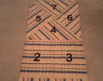 Hopscotch-indoor / blue- red-gold plaid / children's game / indoor fun / Great fun for kids!