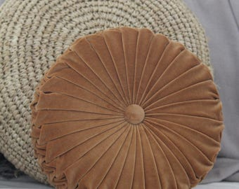 Golden Tan Vintage Style Velvet Cushion