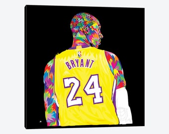Kobe Bean Bryant Black Mamba KB24 KB8 Lakers Gallery Style Canvas Print Poster NBA Vibrant Colorful Beautiful Framed Pop Artwork Wall Decor