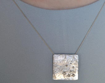 Handmade sterling silver pendant, silver square necklace, reticulated silver pendant with granulation