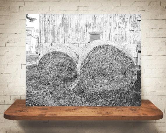 Hay Bales Photograph - Fine Art Print - Black & White Photography - Wall Art - Wall Decor -  Farm Pictures - Farm House Decor - Rustic
