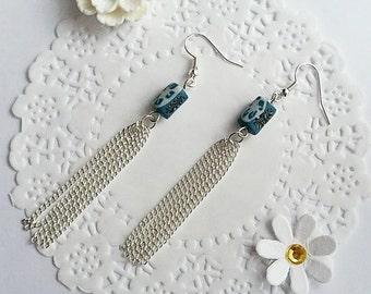 polymer clay earrings, tassel earrings, blue earrings, chain earrings, chain tassel earrings, clay earrings, clay jewellery, gifts for her