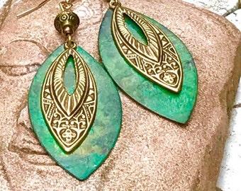 Large Art Deco earrings, Art Deco jewelry, patina earrings, hammered metal earrings, large earrings, Long dangle earrings, vintage, tribal